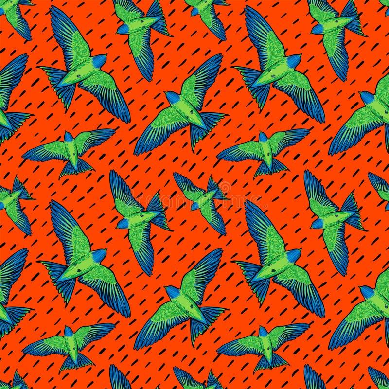 Sömlös modell för livliga fåglar Färgrik textur med gräsplanpapegojor på orange bakgrund Bakgrund för vändkretsfåglar för vektor illustrationer