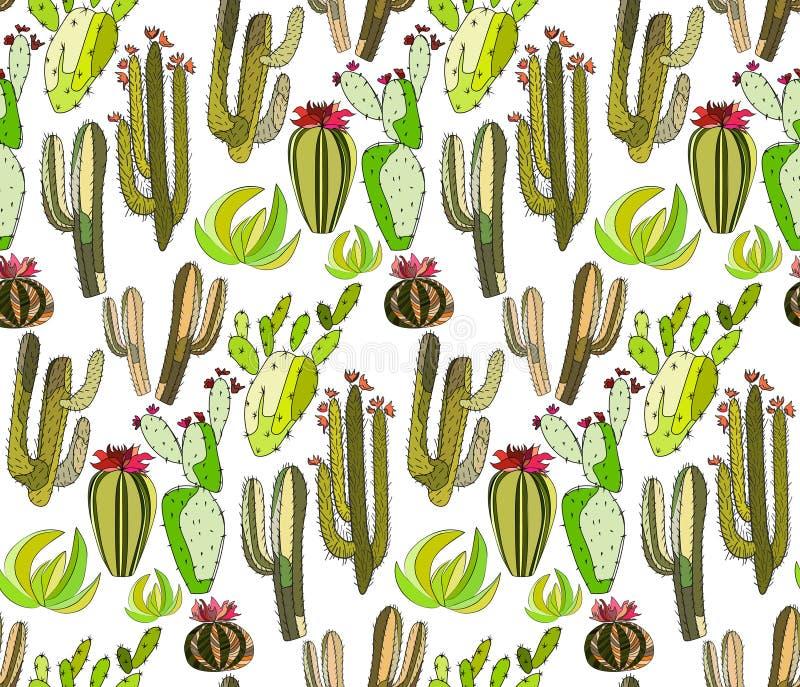 Sömlös modell för ljus älskvärd sofistikerad gräsplan för mexikanhawaii tropisk blom- växt- sommar av en kaktusmålarfärg som barn royaltyfri illustrationer
