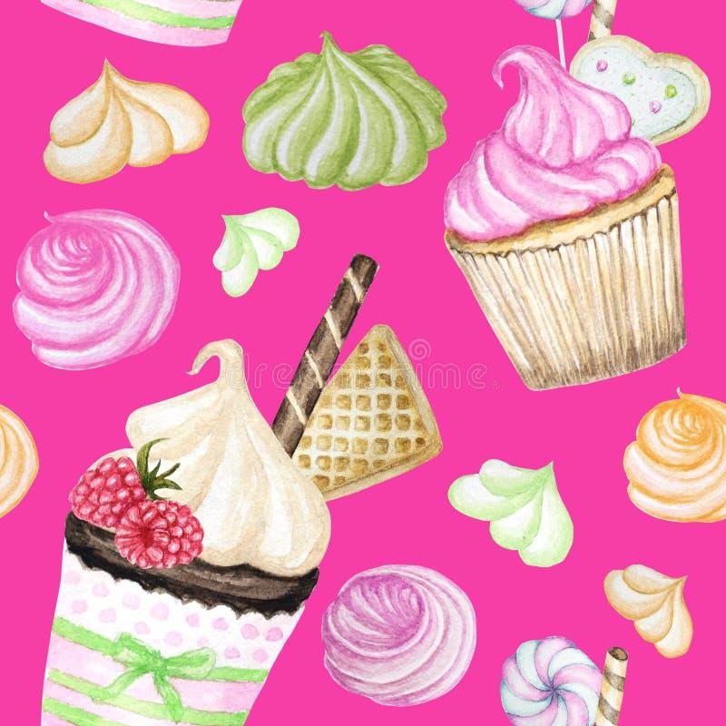 Sömlös modell för ljus färgrik söt läcker vattenfärg med muffin Isolerade beståndsdelar på ljus rosa bakgrund royaltyfri illustrationer