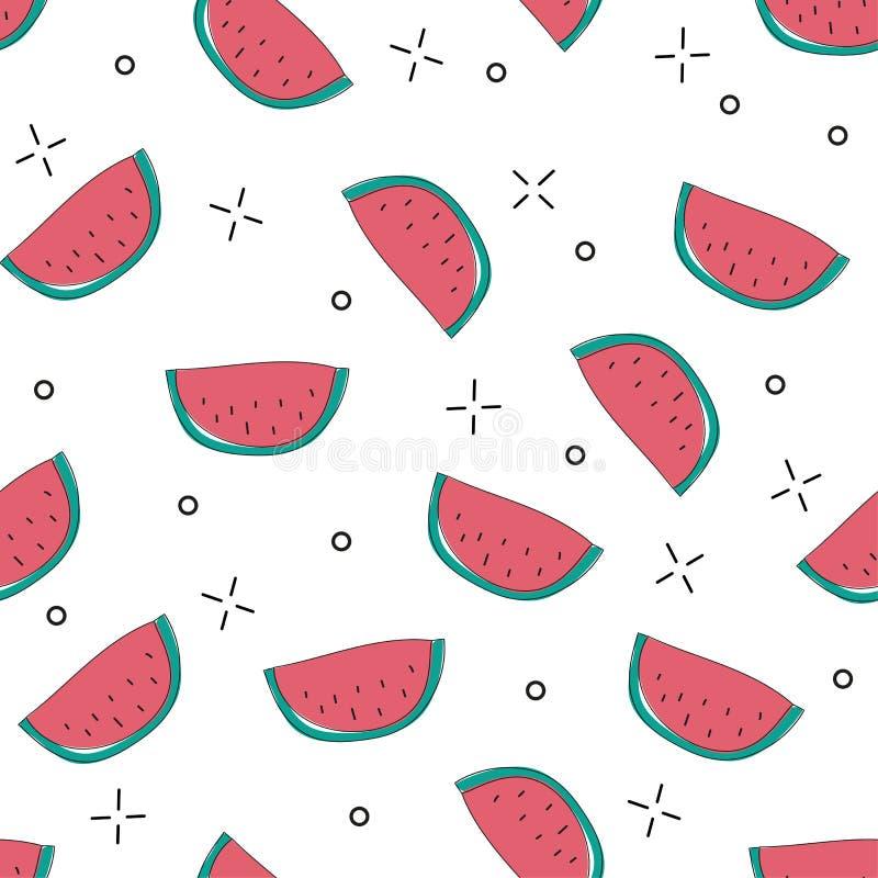 Sömlös modell för ljus färgrik vektor med skivade vattenmelon stock illustrationer
