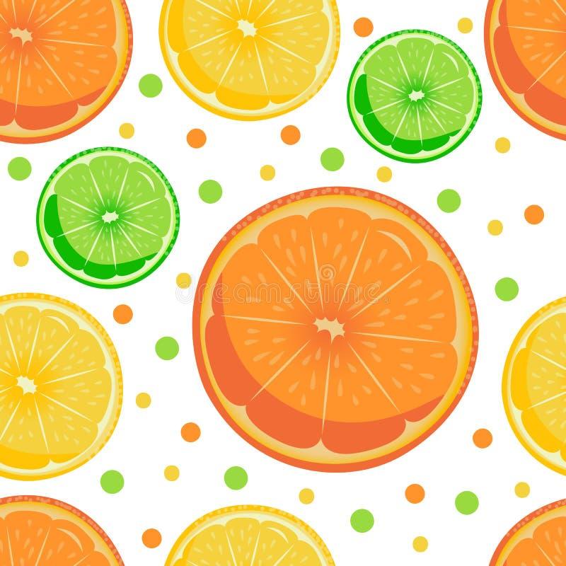 Sömlös modell för ljus sommar av saftiga citrusfrukter: apelsin, citron och limefrukt textil emballage vektor illustrationer