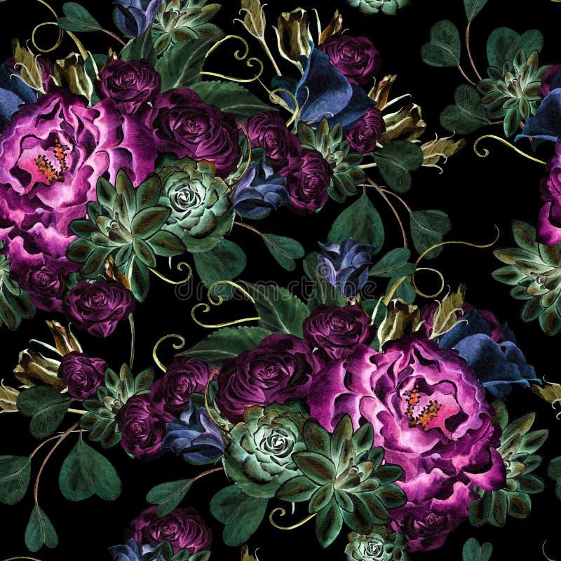 Sömlös modell för ljus vattenfärg med den blommarosor, pionen, suckulenter, eustomaen och eukalyptuns vektor illustrationer