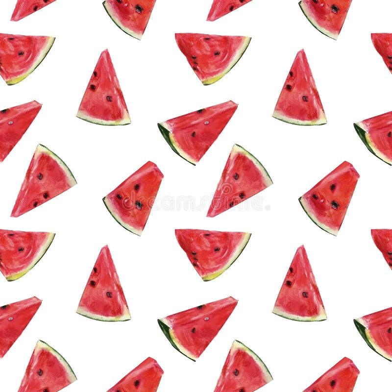 Sömlös modell för ljus vattenfärg med skivor av vattenmelon royaltyfri illustrationer
