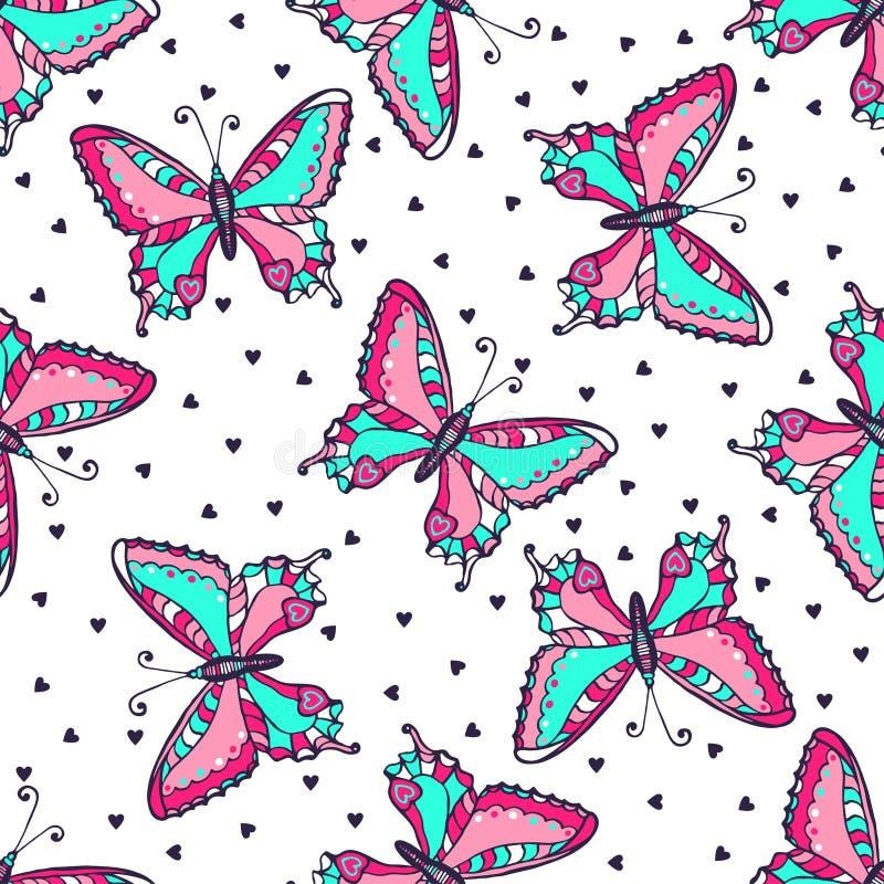 Sömlös modell för ljusa fjärilar Hand dragen fjärilsvektorillustration för tyg textil som slår in, tapet som förpackar vektor illustrationer