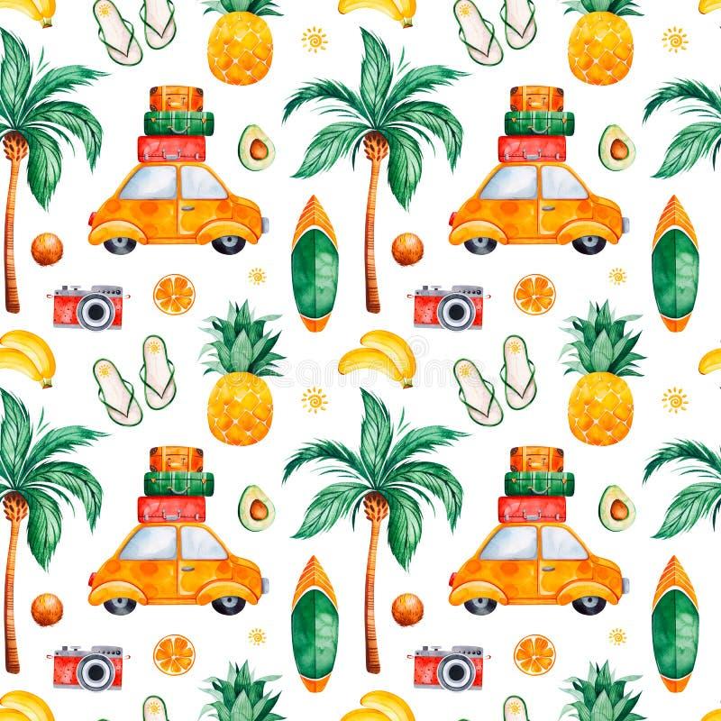 Sömlös modell för loppvattenfärg med palmträdet, gul bil, resväska, ananas stock illustrationer