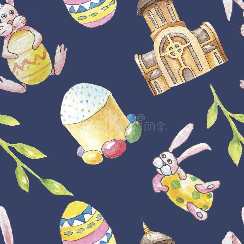 Sömlös modell för lycklig påskuppsättning på mörk bakgrund med kyrkan, filialen, kaninen, kaninen, kakan och ägget stock illustrationer