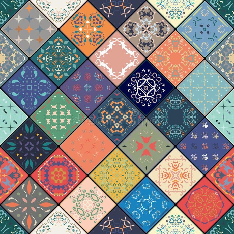 Sömlös modell för lyxig orientalisk tegelplatta Färgrik blom- patchworkbakgrund Boho chic stil Richblommaprydnad stock illustrationer
