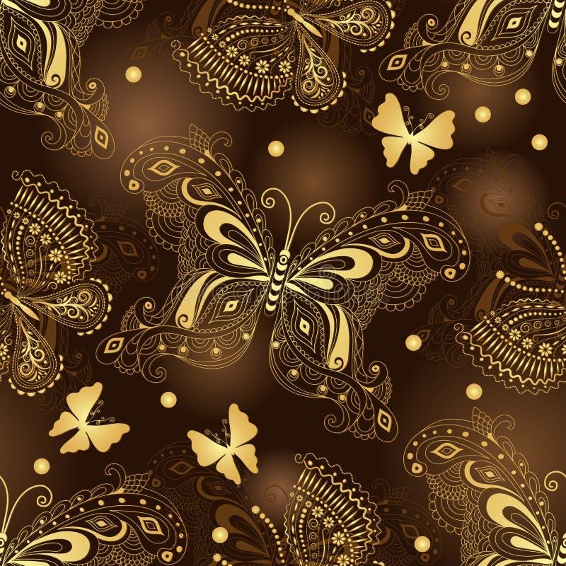 Sömlös modell för mörk brunt med guld- fjärilar royaltyfri illustrationer