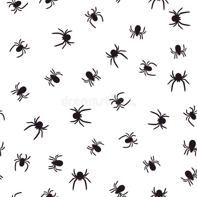 Sömlös modell för mörka spindlar på vit bakgrund ocks? vektor f?r coreldrawillustration stock illustrationer
