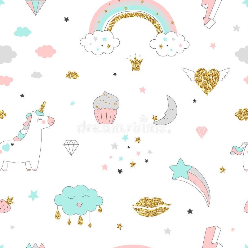 Sömlös modell för magisk design med enhörningen, regnbågen, hjärtor, moln och andra beståndsdelar stock illustrationer