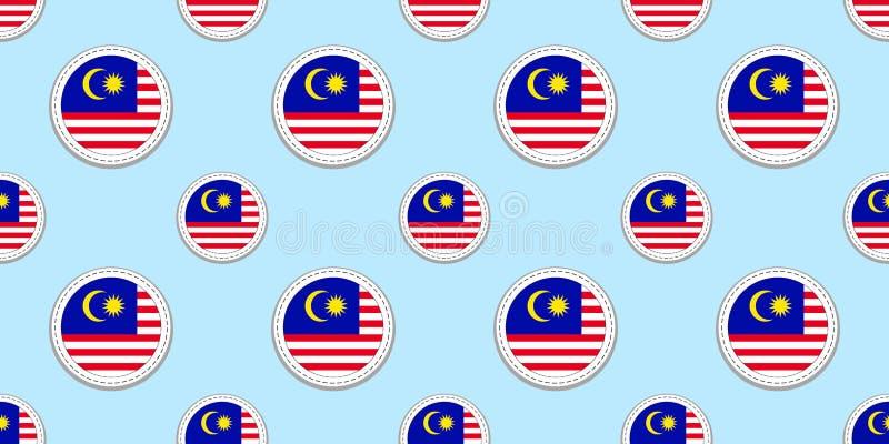 Sömlös modell för Malaysia rundaflagga Malaysisk bakgrund Vektorcirkelsymboler Geometriska symboler Textur för sportsidor, komp stock illustrationer