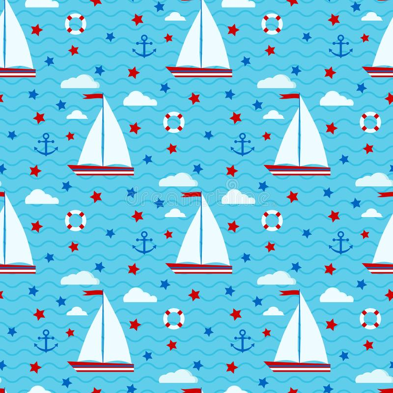Sömlös modell för marin- gullig vektor med segelbåten, stjärnor, moln, ankare, livboj på bakgrunden av havet med ändlösa vågor royaltyfri illustrationer