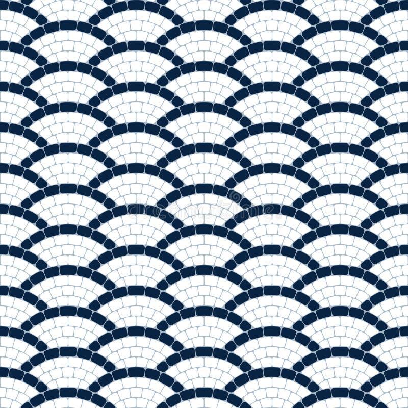 Sömlös modell för marinblå och vit geometrisk vågstenmosaik, vektorbakgrund royaltyfri illustrationer