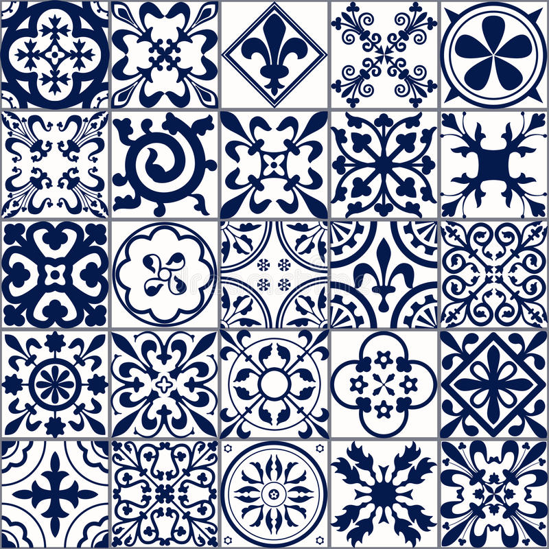 Sömlös modell A för marockanska tegelplattor stock illustrationer