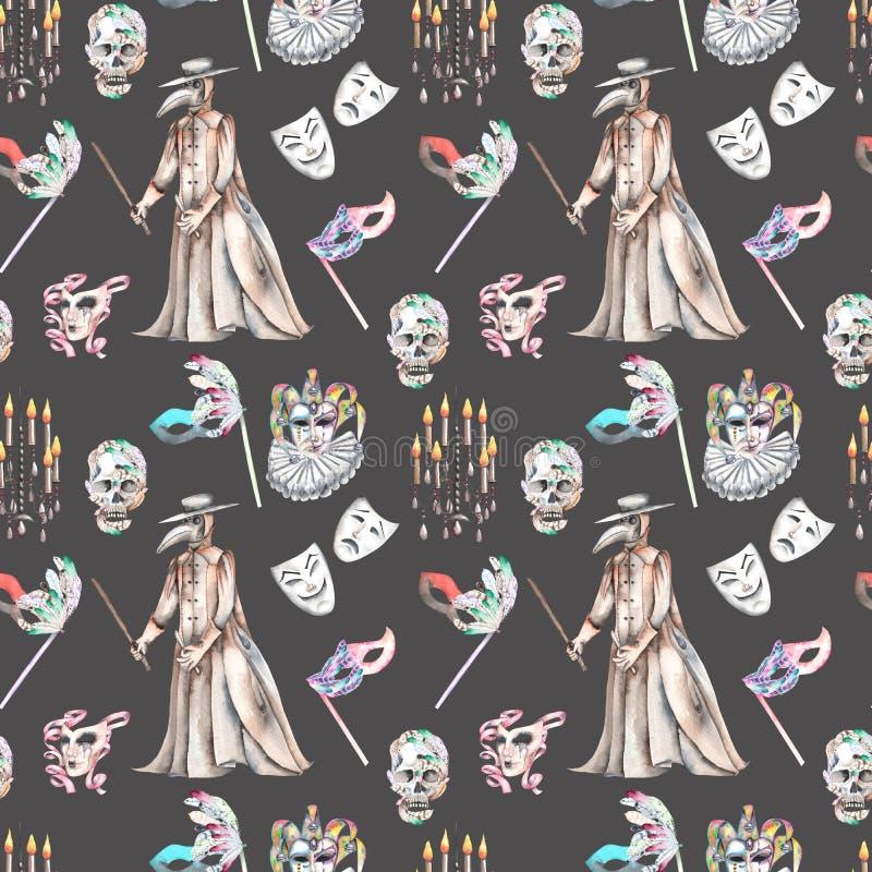 Sömlös modell för maskeradtema med skallar, ljuskronor med stearinljus, epidemidoktorsdräkten och maskeringar i Venetian stil stock illustrationer