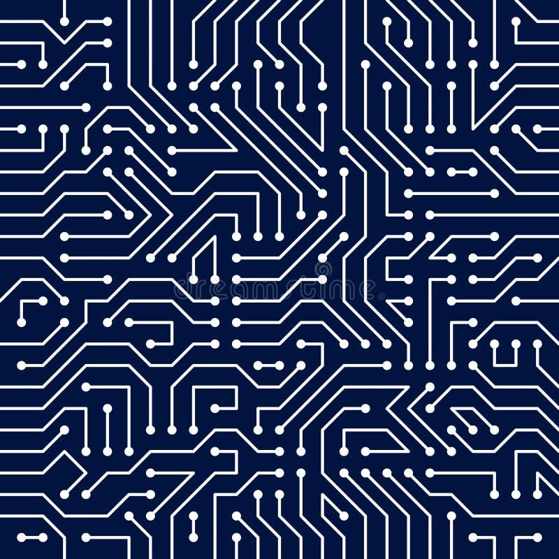 Sömlös modell för mikrochipsbräde, vektorbakgrund Strömkretsboa stock illustrationer