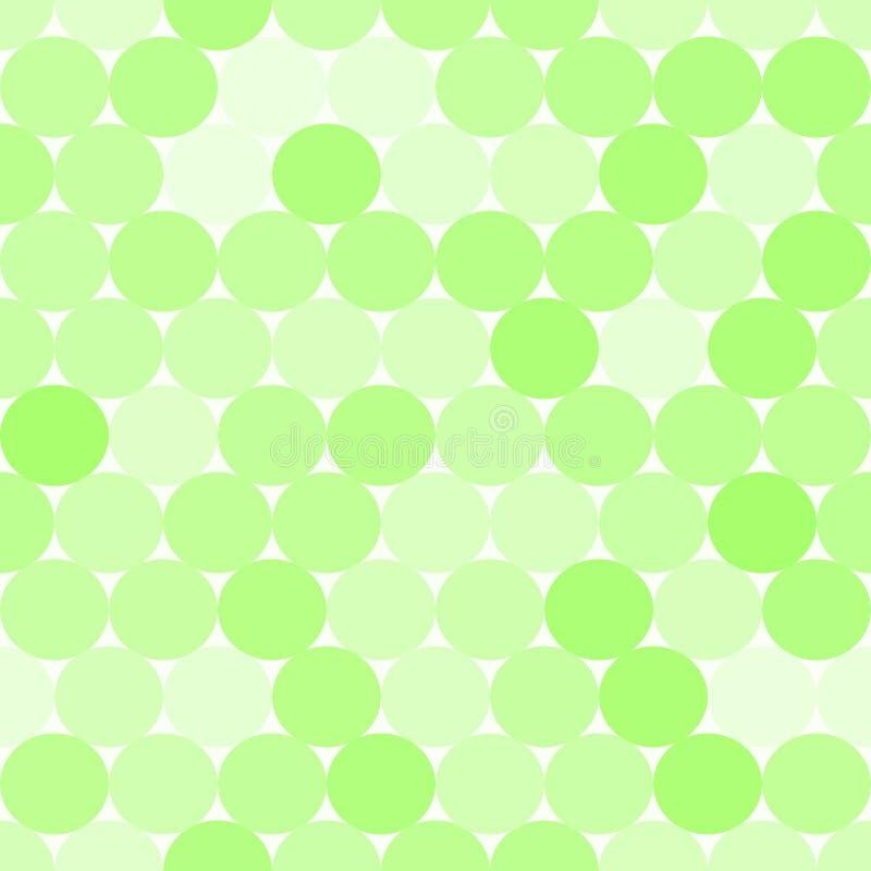 Sömlös modell för mjuk grön vektor med cirklar Monokromabstrakt begrepp royaltyfri illustrationer