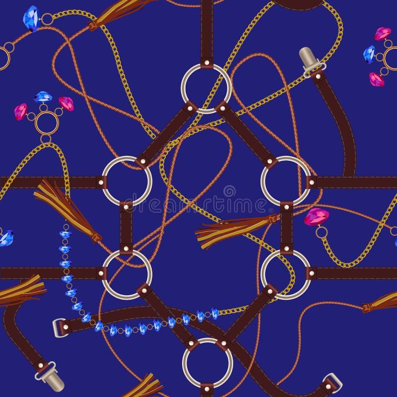 Sömlös modell för mode med ädelstenar, bälten, kedjan och den flätad tråden Vektorlapp för tyg vektor illustrationer