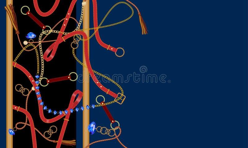 Sömlös modell för mode med ädelstenar, bälten, kedjan och den flätad tråden Vektorlapp för tyg royaltyfri illustrationer