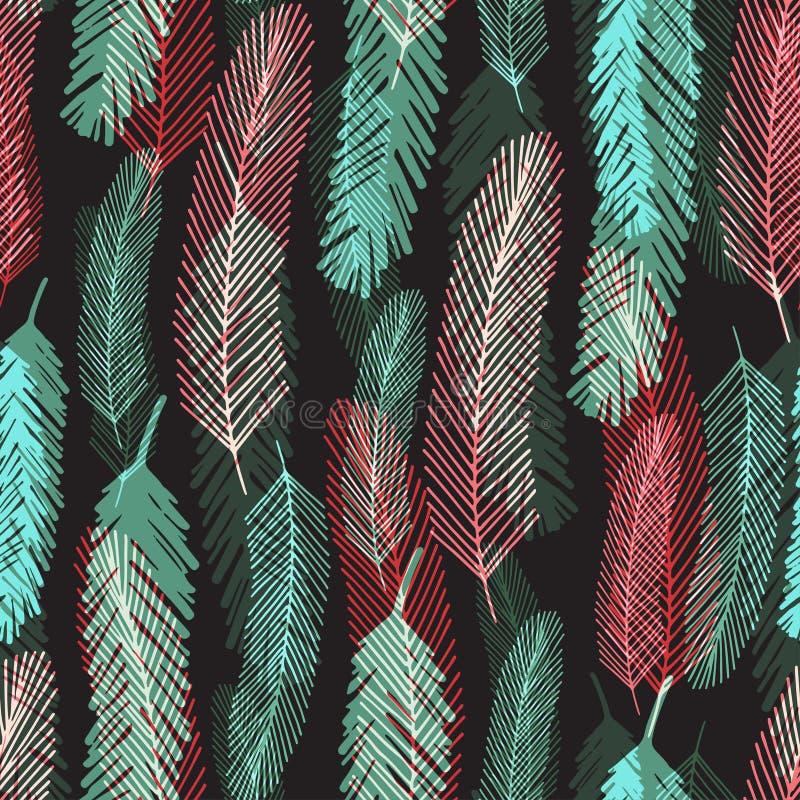 Sömlös modell för mode med färgrika fjädrar Ljus textur för vektor för inpackning eller textil royaltyfri illustrationer