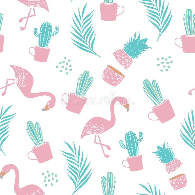 Sömlös modell för mode för textiltryck med kaktuns, ananas, palmblad och flamingo moderiktig sommardesignvektor stock illustrationer