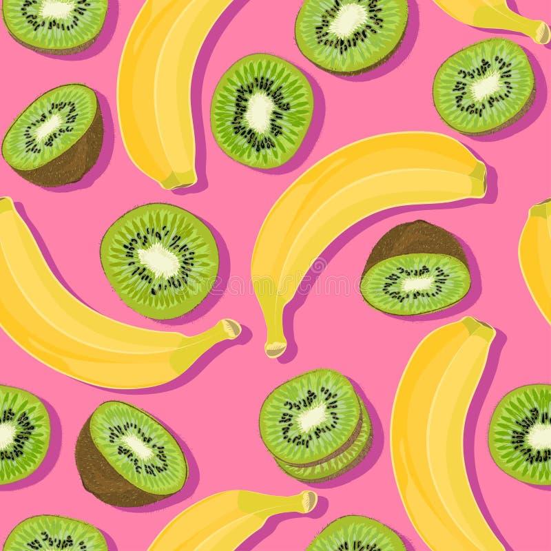 Sömlös modell för moderiktig minsta sommar med den hela skivade bananen för ny frukt, kiwi på färgbakgrund royaltyfri illustrationer