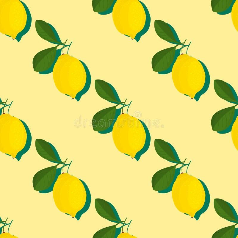 Sömlös modell för moderiktig minsta sommar med den hela skivade citronen för ny frukt på färgbakgrund royaltyfri illustrationer