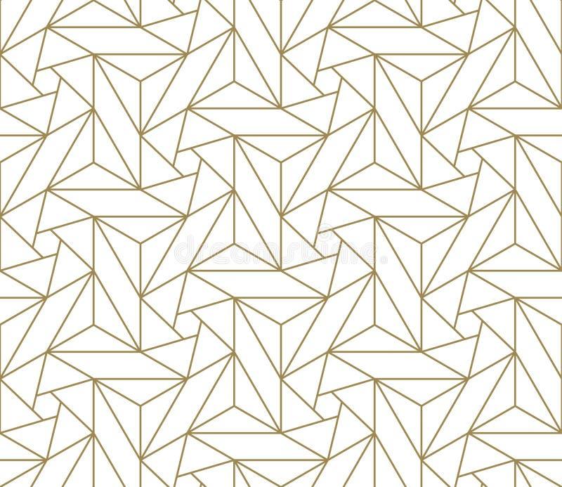Sömlös modell för modern enkel geometrisk vektor med den guld- linjen textur på vit bakgrund Ljus abstrakt tapet royaltyfri illustrationer
