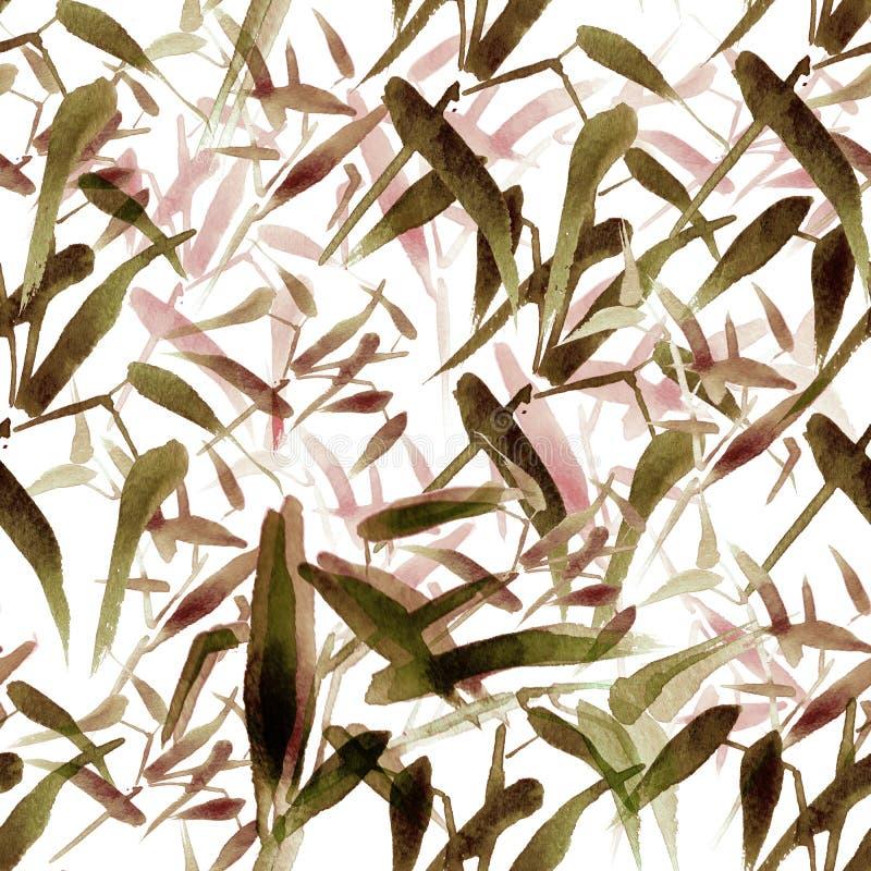 Sömlös modell för modern vattenfärgbambu Skuggor av brunt royaltyfri illustrationer