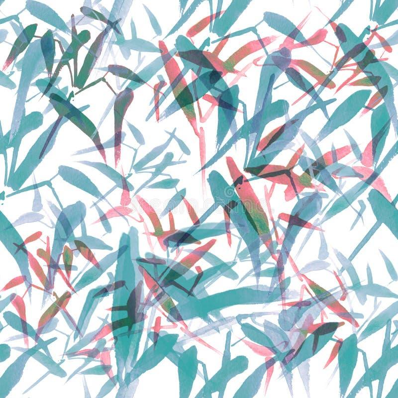 Sömlös modell för modern vattenfärgbambu Skuggor av pastellblått och rött stock illustrationer