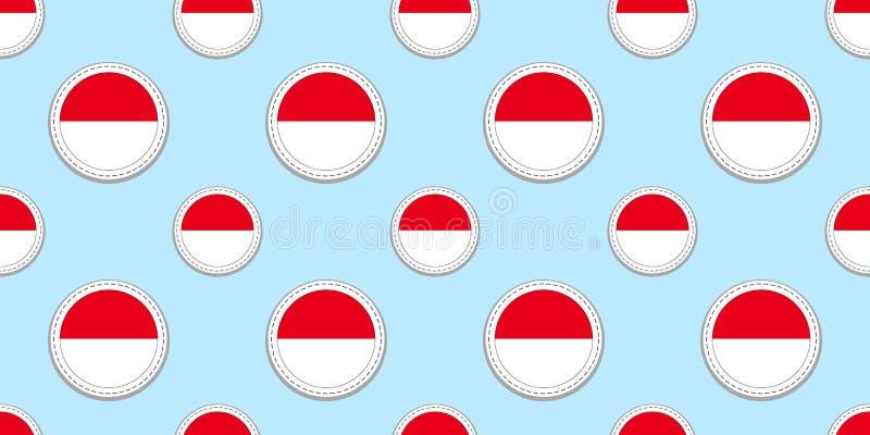 Sömlös modell för Monaco rundaflagga Monacan bakgrund Vektorcirkelsymboler Geometriska symboler Texturera för sportsidor, competi stock illustrationer