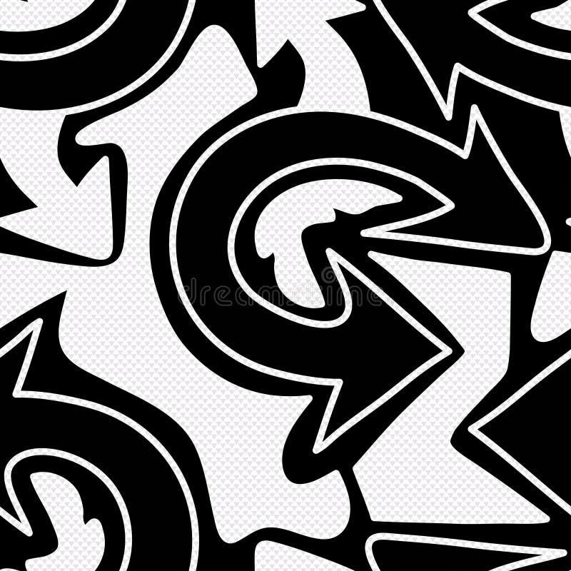 Sömlös modell för monokromma grafittipilar royaltyfri illustrationer