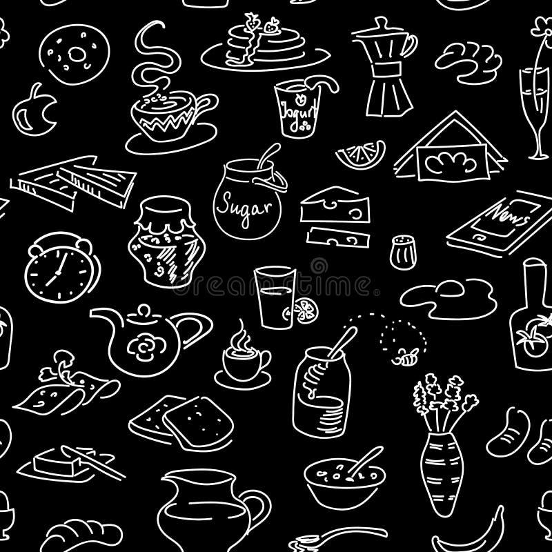 Sömlös modell för morgonfrukostklotter på svart Stil för kritabräde skissa stock illustrationer