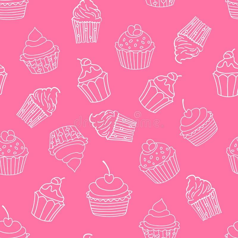 Sömlös modell för muffin på rosa bakgrund söt modell också vektor för coreldrawillustration vektor illustrationer
