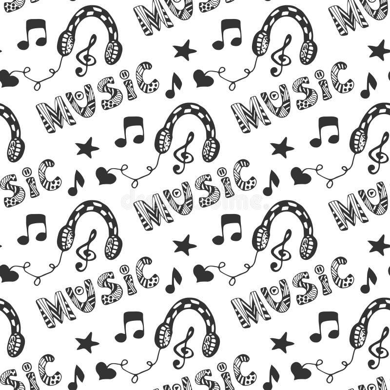 Sömlös modell för musik med hand dragen hörlurar och klotterbokstävermusik Vektorillustration med melodimusiktrycket vektor illustrationer