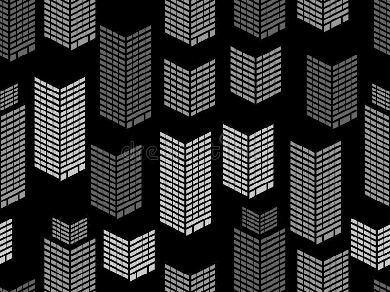 Sömlös modell för nattstadsfönster Skyskrapor isometriska stadsbyggnader, metropolis vektor stock illustrationer