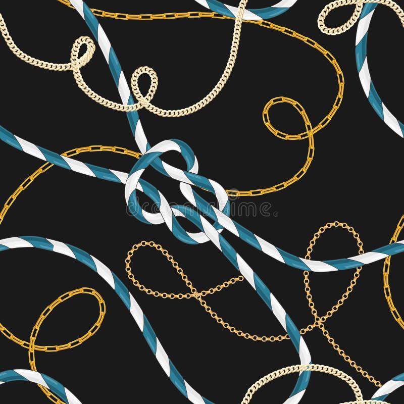 Sömlös modell för nautisk stil med Marine Rope Knots och moderiktiga guld- kedjor Modetygdesign med havsbeståndsdelar stock illustrationer
