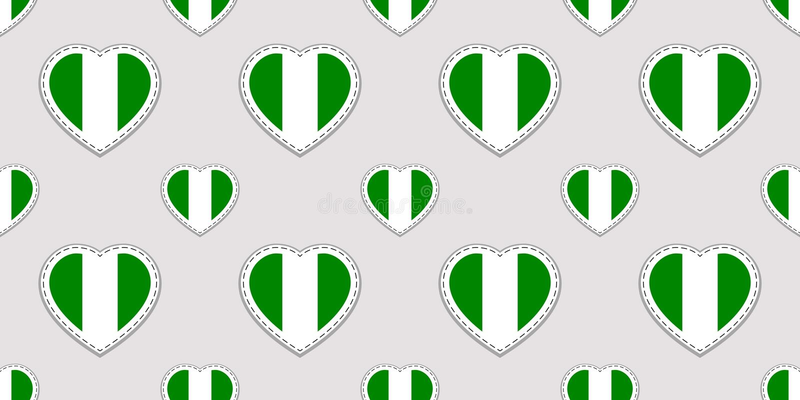 Sömlös modell för Nigeria flagga Nigerianska nationsflaggastikers Symboler för vektorförälskelsehjärtor Bakgrund för sportsidor,  stock illustrationer