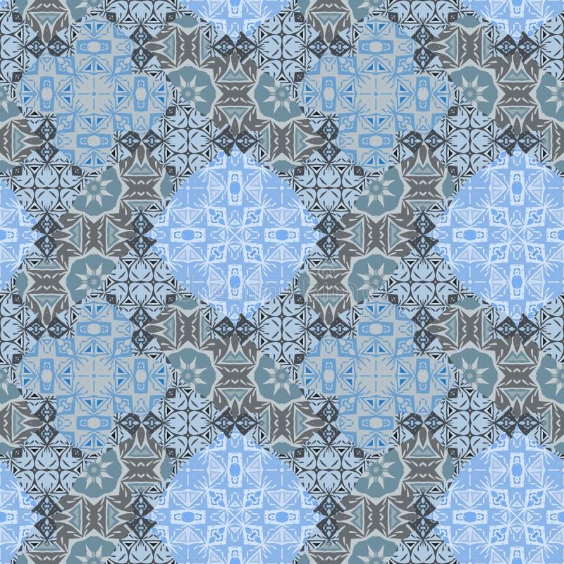 Sömlös modell för Nontrivial patchwork för färgabstrakt begreppmandalas, uppsättning av sömlös modell fyra royaltyfri illustrationer