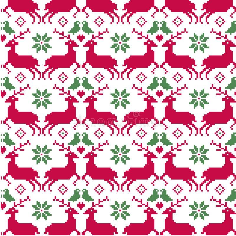 Sömlös modell för nordisk jul med renen och fåglar vektor illustrationer