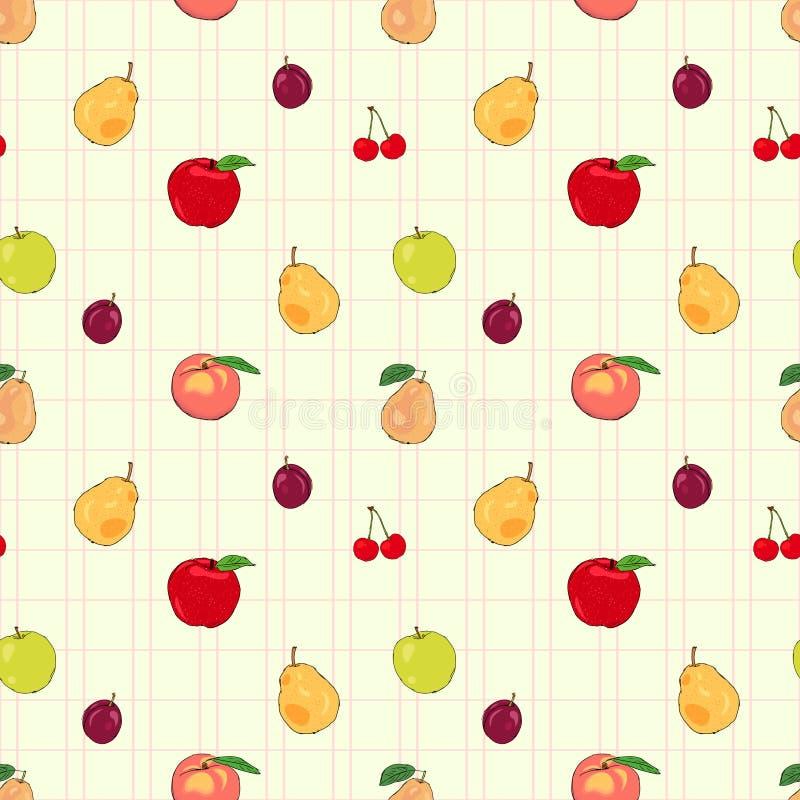 Sömlös modell för nya frukter med äpplen och päron stock illustrationer