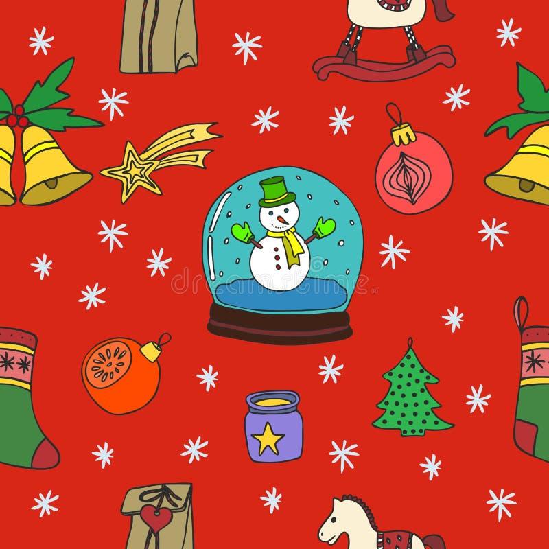 Sömlös modell för nytt år lyckligt nytt år lycklig ferievinter glad jul Den drog handen klottrar illustrationen vektor illustrationer