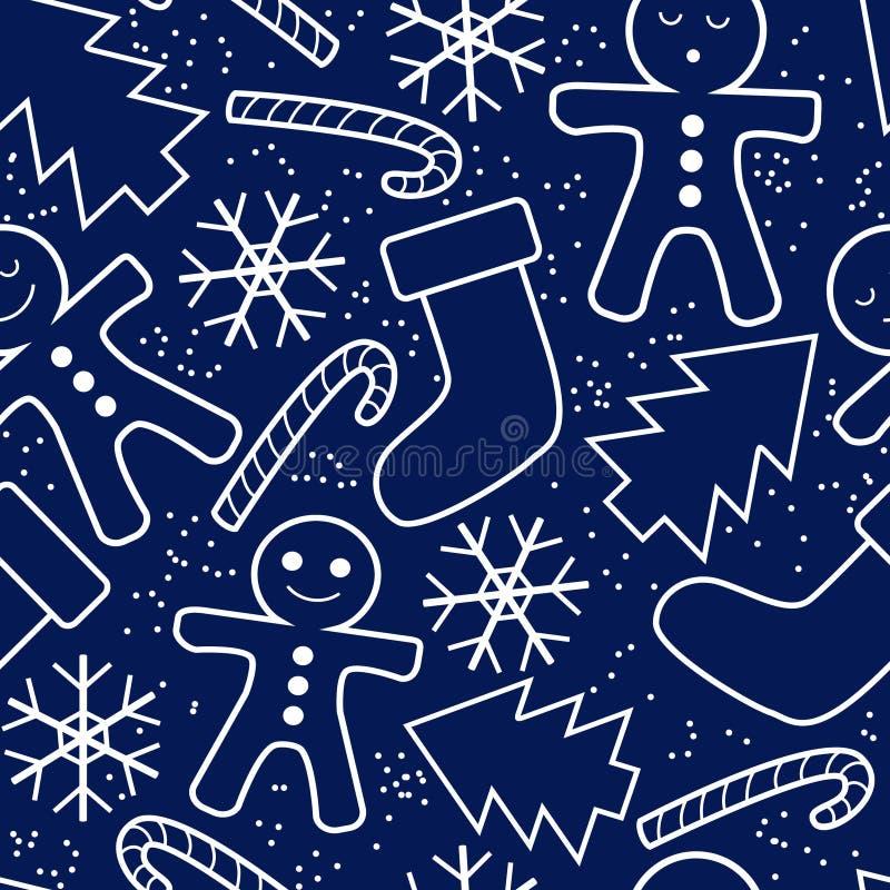 Sömlös modell för nytt år med snö, pepparkakan, gran, godisen och sockor stock illustrationer