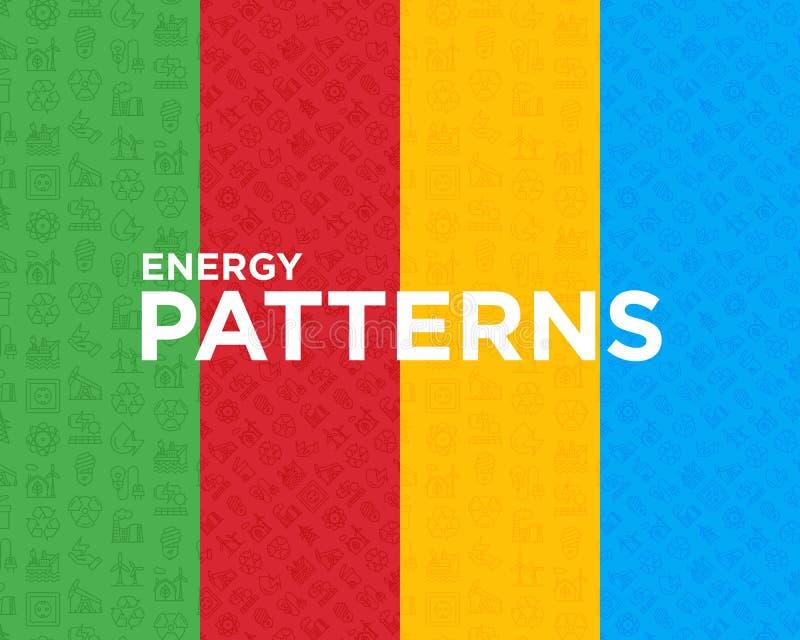 Sömlös modell för olik energi fyra stock illustrationer
