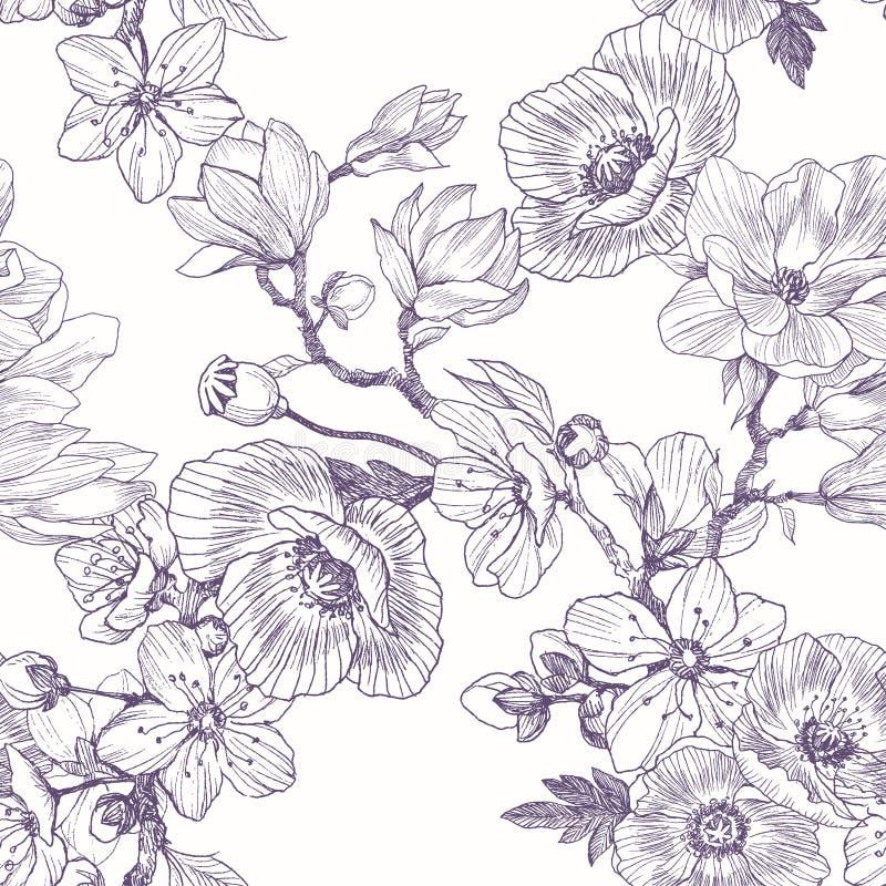 Sömlös modell för olika härliga blommor Dragen illustration för tappning botanisk hand Vårblommor av äpplet eller stock illustrationer