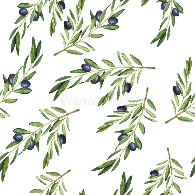 Sömlös modell för olivgrön filial Hand dragen vattenfärgillustration royaltyfri illustrationer