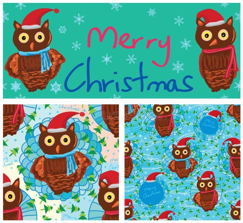 Sömlös modell för Owl Merry Christmas ram vektor illustrationer