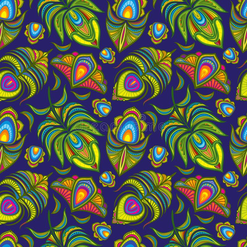 Sömlös modell för påfågelfjädervektor stock illustrationer