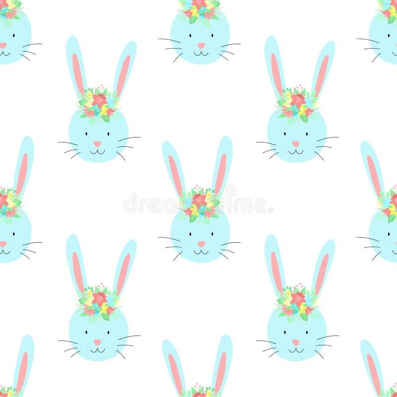 Sömlös modell för påsk av rolig kanin med blommor på en genomskinlig bakgrund Vektor hand-dragen illustration av kaninen för spri royaltyfri illustrationer
