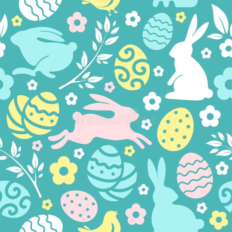 Sömlös modell för påsk med ägg och kaniner royaltyfri illustrationer
